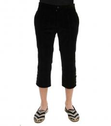 Black Cotton Striped Capri Pants