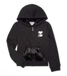 Juicy Couture Little Girls Black Fur-Accented Zip Hoodie