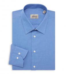 Blue Textured Dress Shirt