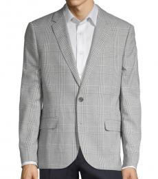 Grey Plaid Notched Sportcoat