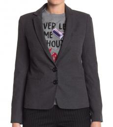 Love Moschino Dark Grey Front Button Solid Blazer