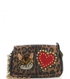 Leopard Print Gianis Small Shoulder Bag