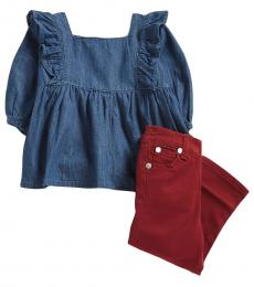 7 For All Mankind 2 Piece Top/Jeans Set (Baby Girls)
