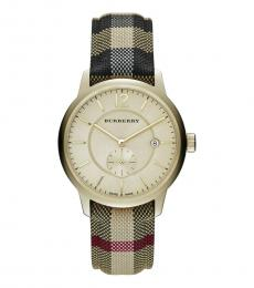 Burberry Gold Check Fabric-Coated Watch