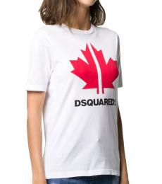 Dsquared2 White Maple Leaf Logo Tee