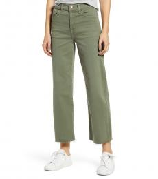 7 For All Mankind Olive High Waist Crop Wide Leg Jeans
