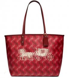 Coach Bright Red Cherry Reversible City Large Tote
