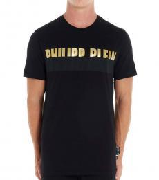 Philipp Plein Black Platinum Half Logo T-Shirt