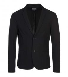 Emporio Armani Black Solid Wool Blazer