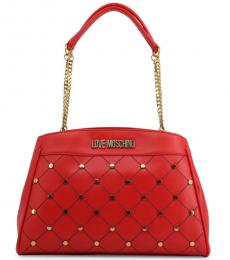 Love Moschino Red Criss-Cross Stitch Large Tote