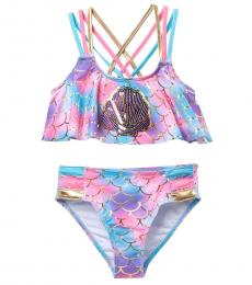Betsey Johnson Girls Multicolor Sequin Two-Piece Swimsuit