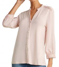 Light Pink Knit Lace Trim Blouse