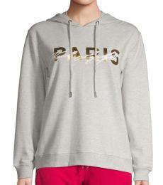 Karl Lagerfeld Light Grey Cotton-Blend Logo Hoodie