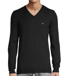 Diesel Black V-Neck Cotton Sweatshirt