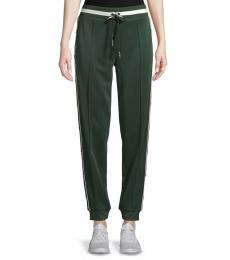Bottle Green Buttoned Jogger Pants