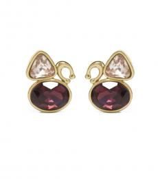 Gold-Red Signature Crystal Cluster Stud Earrings