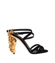 Dolce & Gabbana Black Gold Leaf Heels