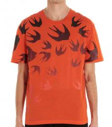 McQ Alexander McQueen Orange Swallow degrad� t-shirt