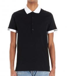 Balmain Black Sleeve Logo Polo