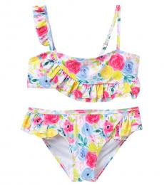 Juicy Couture Girls Multicolor Floral Ruffle 2-Piece Swimsuit