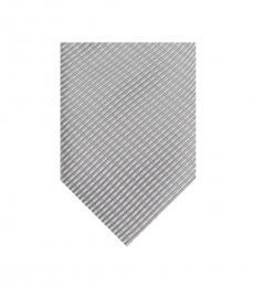 Calvin Klein Silver Ribbed Stripe Tie