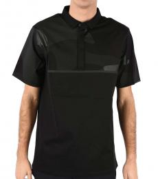 Emporio Armani Black Printed Short Sleeve Polo