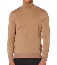Canali Beige Turtleneck Wool Sweater