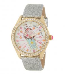 Betsey Johnson Silver Accented Milk Shake Watch