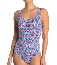 Multi color Laced Back One-Piece Swimsuit