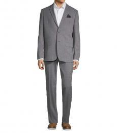 Ben Sherman Grey Slim-Fit Plaid Notch Lapel Suit