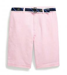 Boys Pink Slim Fit Belted Oxford Shorts