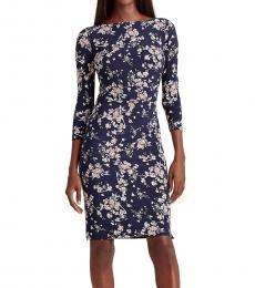 Ralph Lauren Navy Blue Floral Ruched Jersey Dress
