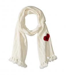 Cream Heart Classic Cable Scarf