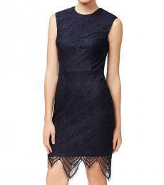 Betsey Johnson Navy Lace Fringe Hem Dress