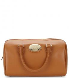 Roberto Cavalli Tan Top Handle Large Satchel