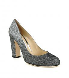 Jimmy Choo Dark Silver Billie Glitter Heels