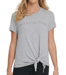 DKNY Light Grey Cotton Tie-Front Logo T-Shirt