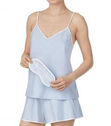 Kate Spade Light Blue Polka Dot Mrs 3-Piece Pajama Set