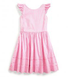 Ralph Lauren Little Girls Pink Multi Gingham Poplin Dress