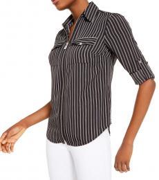 Michael Kors Black Striped Zip-Up Shirt