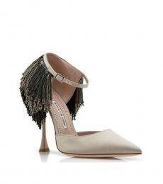Manolo blahnik Natural Fringes Embellished Heels