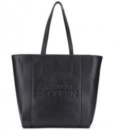 Alexander McQueen Black Embossed Logo Large Tote