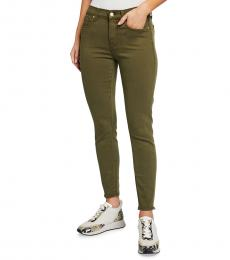 7 For All Mankind Medium Green Ankle Squiggle-Pocket Jeans