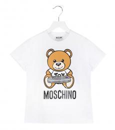 Moschino Little Boys White Logo T-Shirt