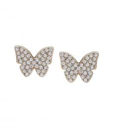 Gold Pave Butterfly Stud Earrings