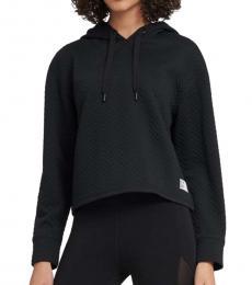 DKNY Black Zig-Zag Knit Jacquard Hoodie