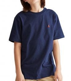 Ralph Lauren Boys Cruise Navy Logo T-Shirt