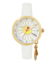 Betsey Johnson White Logo Watch