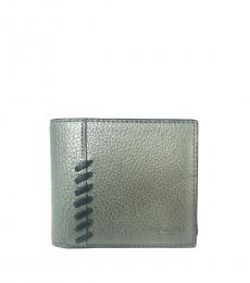 Coach Silver Black Billfold Wallet