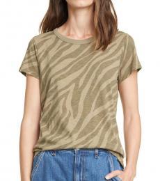 Rag And Bone Armymult Allover Zebra Printed T-Shirt
